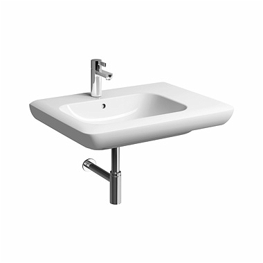 LIFE! 70 cm Asymmetric washbasin, right, with tap hole, with overflow