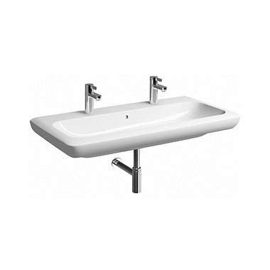 LIFE! 100 cm Washbasin with 2 tap holes, with overflow