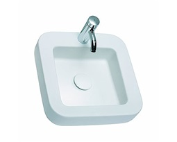 COCKTAIL square lay-on washbasin 45 cm, with tap hole, without overflow