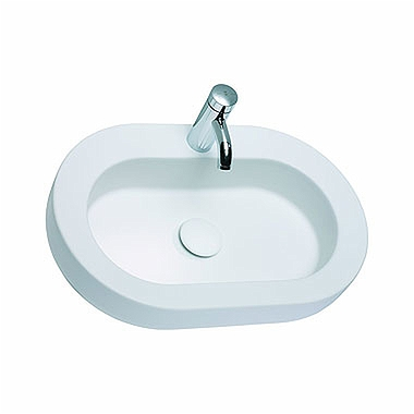COCKTAIL oval lay-on washbasin 65 cm, with tap hole, without overflow