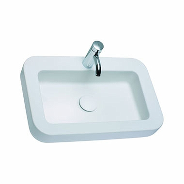 COCKTAIL rectangular lay-on washbasin 65 cm, with tap hole, without overflow