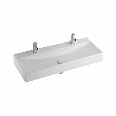 QUATTRO 120 cm washbasin, with double tap hole, without overflow