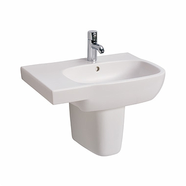 STYLE 65 cm asymmetrical washbasin, left, with tap hole, with overflow
