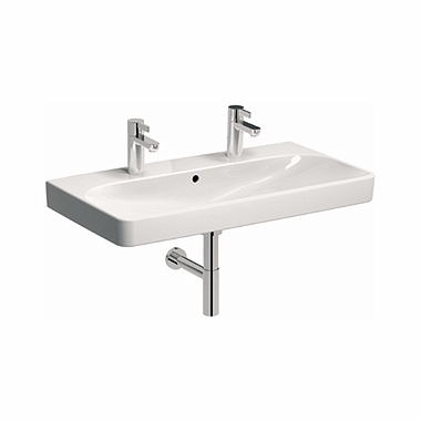 TRAFFIC 90 cm Furniture washbasin with double tap hole, with overflow
