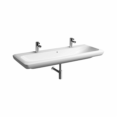 LIFE! 130 cm Washbasin with 2 tap holes, with overflow