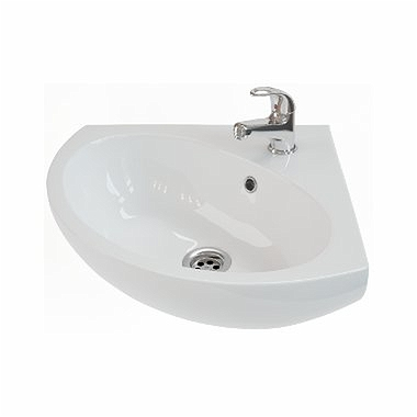 RUNA Corner washbasin 35 cm, with tap hole, with overflow