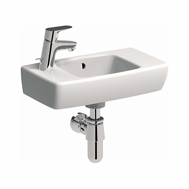 NOVA PRO 45 cm Rectangular washbasin with tap hole on the left side, with overflow