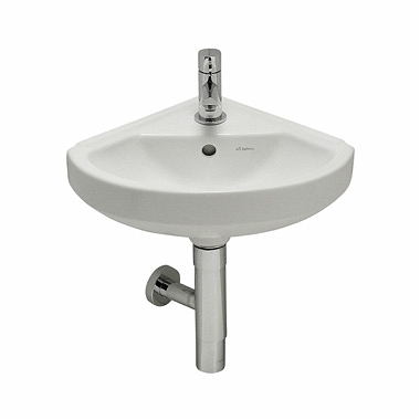 PRIMO 35,5 cm corner washbasin with tap hole, with overflow