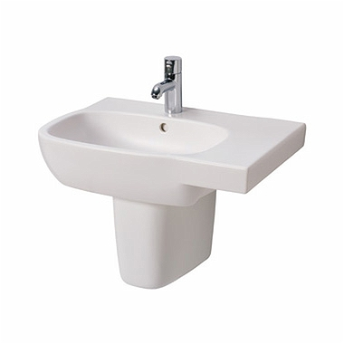 STYLE 65 cm asymmetrical washbasin, right, with tap hole, with overflow