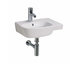 STYLE 45 cm asymmetrical washbasin, right, with tap hole, with overflow