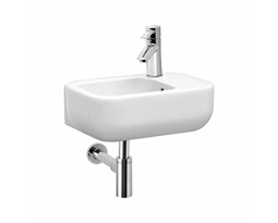 EGO by Antonio Citterio washbasin  40 cm, with tap hole on the right side, with overflow