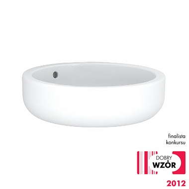 EGO by Antonio Citterio round lay-on washbasin 45 cm, without tap hole, with overflow