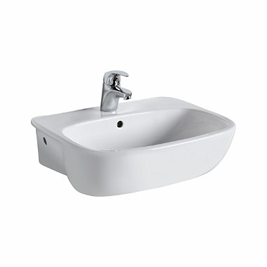 STYLE 55 cm semi recessed washbasin with tap hole, with overflow