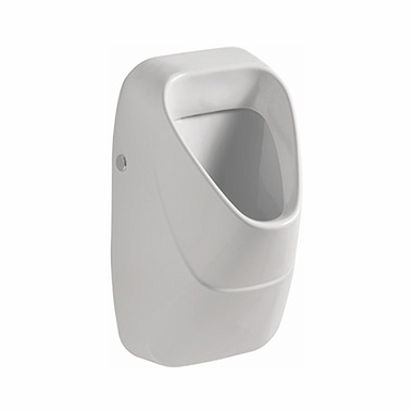 NOVA PRO urinal with integrated ceramic strainer, rear inlet