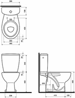 REKORD WC pack, vertical outflow, side water supply