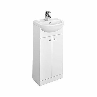 SOLO 40 cm Bathroom set: washbasin + cabinet, white glossy