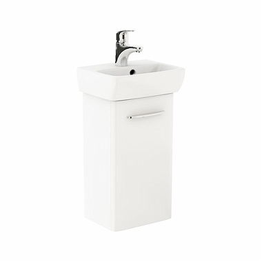 NOVA PRO 36 cm Bathroom set: Rectangular washbasin 36 cm + Washbasin cabinet 30,3 cm, white glossy