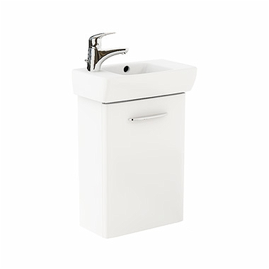 NOVA PRO 45 cm Bathroom set: Rectangular washbasin, left, 45 cm + Washbasin cabinet 39,6 cm, white glossy