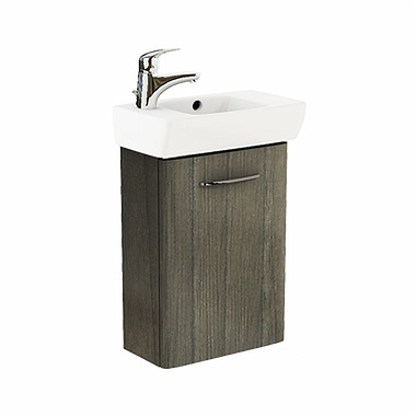 NOVA PRO 45 cm Bathroom set: Rectangular washbasin, left, 45 cm + Washbasin cabinet 39,6 cm, grey ash