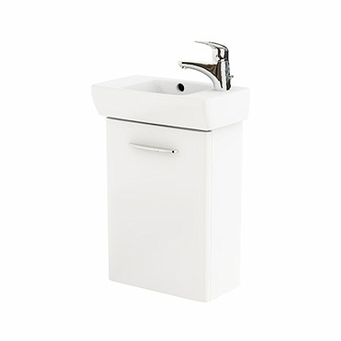 NOVA PRO 45 cm Bathroom set: Rectangular washbasin, right, 45 cm + Washbasin cabinet 39,6 cm, white glossy