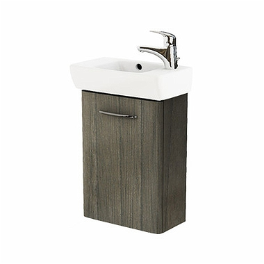 NOVA PRO 45 cm Bathroom set: Rectangular washbasin, right, 45 cm + Washbasin cabinet 39,6 cm, grey ash