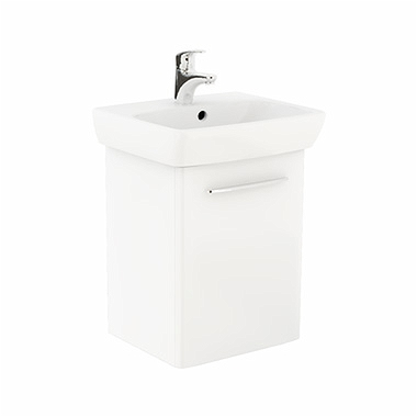 NOVA PRO 50 cm Bathroom set: Rectangular washbasin 50 cm + Washbasin cabinet 41,8 cm, white glossy
