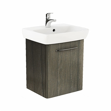 NOVA PRO 55 cm Bathroom set: Rectangular washbasin 55 cm + Washbasin cabinet 46,4 cm, grey ash