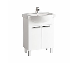 FREJA Bathroom set 65 cm: Furniture washbasin 65 cm + Washbasin cabinet 60 cm, white glossy