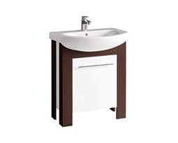 RUNA Bathroom set 70 cm: Furniture washbasin 70 cm + Washbasin cabinet 65 cm, white glossy/wenge