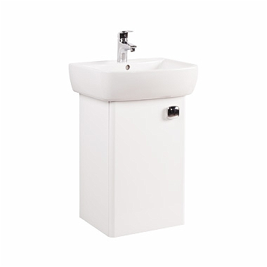 PIANO Bathroom set 50 cm: Furniture washbasin 50 cm + Washbasin cabinet 38,5 cm, white glossy