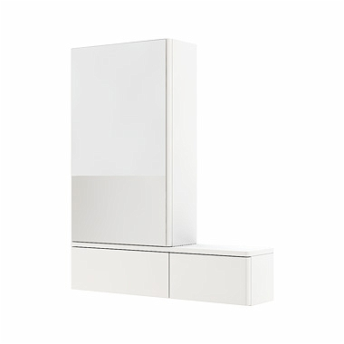 NOVA PRO 70,8 cm Cabinet with mirror, left, white glossy