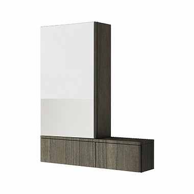 NOVA PRO 70,8 cm Cabinet with mirror, left, grey ash
