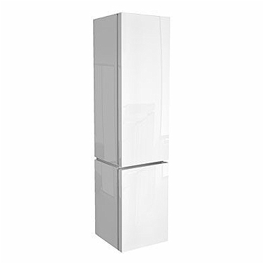 VARIUS High side cabinet with laundry basket, white glossy