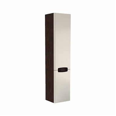 REKORD 160 cm High side cabinet, white glossy/wenge