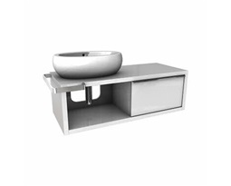 OVUM/EGO by Antonio Citterio Washbasin cabinet with sliding door, left, 127 x 39,9 x  57 cm, white glossy