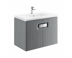 TWINS-Wall-hung-washbasin-cabinet-with-one-door-80-cm-silver-grey