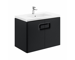 TWINS-Wall-hung-washbasin-cabinet-with-one-door-80-cm-black-mat