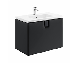 TWINS-Wall-hung-washbasin-cabinet-80-cm-with-1-drawer-black-mat