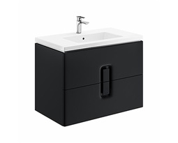TWINS-Wall-hung-washbasin-cabinet-with-2-drawers-black-mat