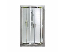 GEO 6 Half-round shower enclosure 90 x 90 cm, sliding doors, PRISMATIC glass