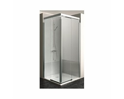 S600 Square-corner shower enclosure 90 x 90 cm, silver glossy profiles, left side
