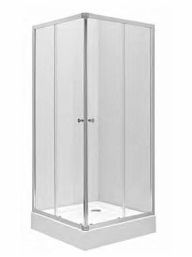 FIRST Shower enclosure set: First square-corner shower enclosure (satin glass) with First square shower tray 90 x 90 cm