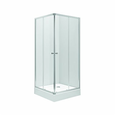 FIRST Square-corner shower enclosure 90 x 90 cm, sliding doors, satin glass