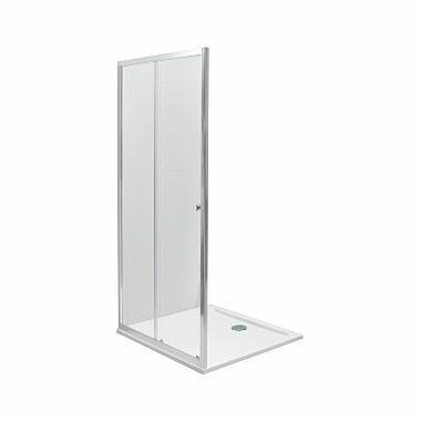 FIRST sliding doors 2 parts 100cm, satin glass silver glossy
