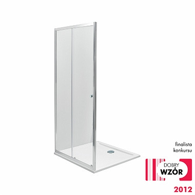 FIRST sliding doors 2 parts 120cm, satin glass silver glossy